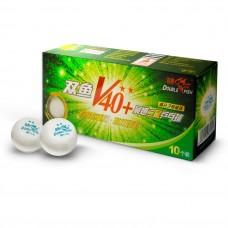 Double Fish 40+ 2, 10 мячей в упаковке, белые.