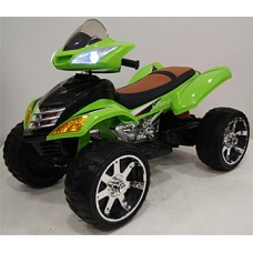 Rivertoys Детский электроквадроцикл Е005КХ зеленый кожа
