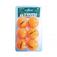 ATB101 Мячи для настольного тенниса Атеми 1, оранж., 6 шт.