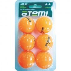 ATB201 Мячи для настольного тенниса Атеми 2, оранж., 6 шт.